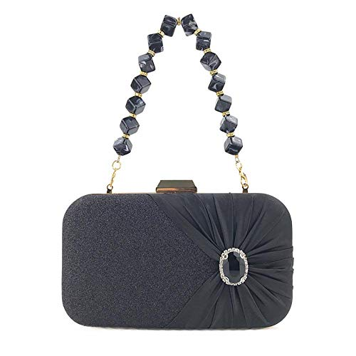 Umhängetasche Damen Clutch Damen Abend Clutch Tasche Für Hochzeitsfeier Kette Kleine Handtasche Einfarbige Kristall Clutch Geldbörse Schwarz