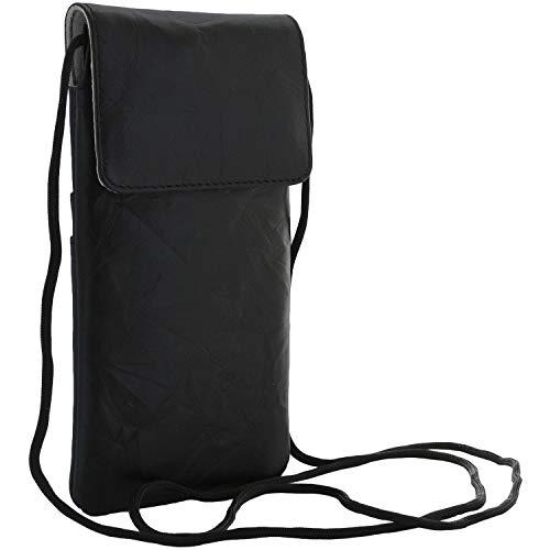 XiRRiX Leder Umhängetasche/Handy Smartphone Brustbeutel kompatibel mit Samsung Galaxy A31 A51 A52 M21 M31 / Note 20 / Huawei P30 Pro / P20 / P40 Lite/Xiaomi Redmi 9T - Tasche schwarz