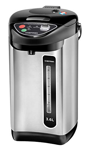 Chefman Electric Hot Water Pot Urn w/Auto & Manual Dispense Buttons, Safety Lock, Instant Heating for Coffee & Tea, Auto-Shutoff & Boil Dry Protection, Insulated Stainless Steel, 3.6L/3.8 Qt/20+ Cups