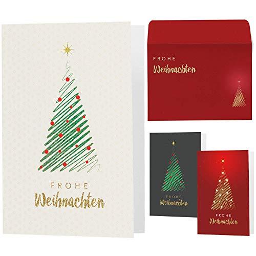 15 moderne Weihnachtskarten mit Umschlägen - Klappkarten mit Sprüchen & Rezepten für Weihnachten - Weihnachtskarte Set für Familie, Freunde oder Kunden (creme)