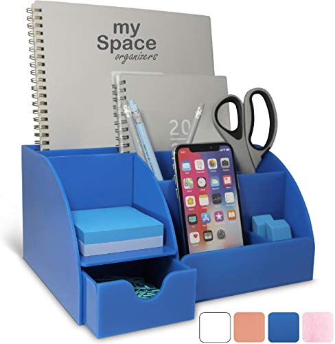 Blue Desk Organizer Office, Acrylic, with Drawer, 9 Compartments, All in One Office Supplies and Cool Desk Accessories Organizer, Pen Holder, Office Decor Desktop (Blue)