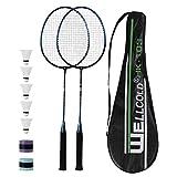 TENNHOOOLL Ultra-Light Alloy Badminton Racket Set of 2, 2 Rackets, 5 Shuttlecocks and 2 Overgrips...