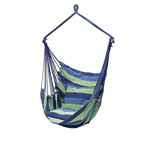 GDYJP Silla de Hamaca portátil Camping Sillas Colgantes Rayas de algodón Silla de Swing de Cuerda Colgante con Almohadas para Patio Interior para Exteriores jardín de Patio (Color : C)