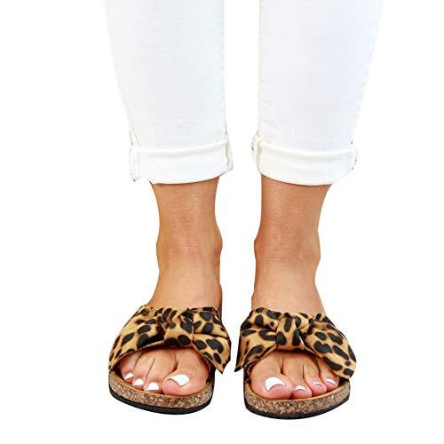 Jodimitty Damen Sandalen mit Fußbett Pantoletten mit Schleife Flache Sommerschuhe Strand Schuhe Offen Slipper Sommer Bequeme Damenschuhe