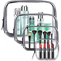 Meowoo Bolsas de Aseo Transparente TSA Aprobado Mujer Viaje Cosmeticos Neceseres Toiletry Bag, Portátil y Impermeable, Material de PVC(4pcs Transparente)