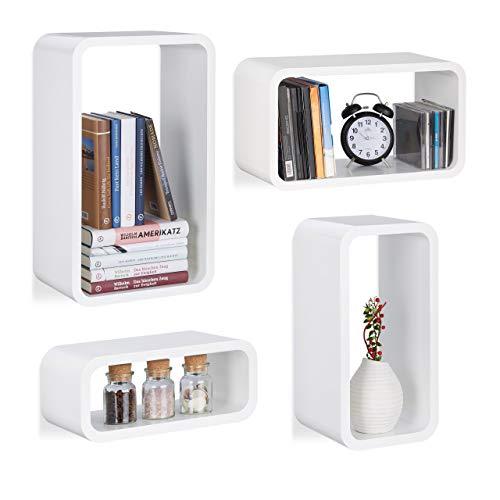 Relaxdays Hangrek set van 4, wandplank Cube in 4 maten, houten plank in staand en liggend formaat ophangen, decoratie, MDF, wit