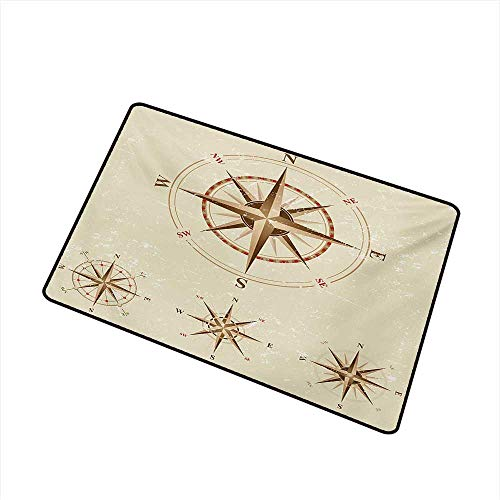 Wang Hai Chuan Compass Inlet Outdoor Door mat Four Different Compasses in Retro Colors Discovery Equipment Where Nautical Marine Catch dust Snow and mud W31.5 x L47.2 Inch,Beige Tan