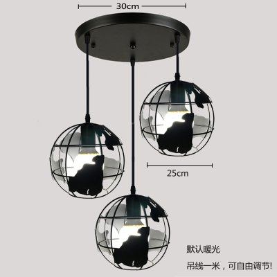 Luckyfree creatieve industriële ijzeren hanglamp kamer bar café restaurant keuken gang lampen plafondlamp kroonluchter, navy blue globe zwart