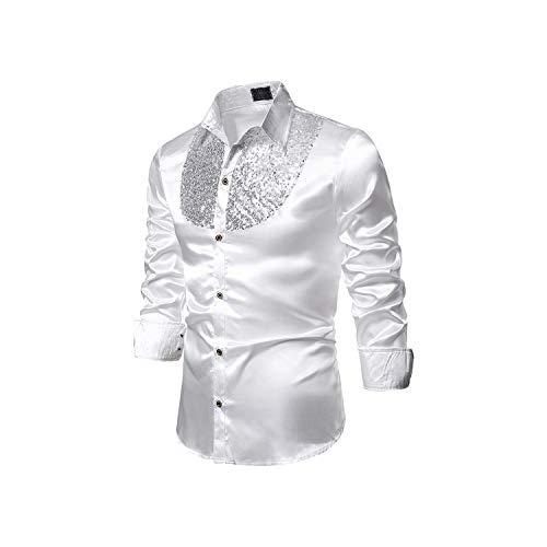 Silk Shiny Nightclub Men's Stage Dance Nightclub Graduation Set Luxury Sequin Dress Long Sleeved Shirt,White,XXL