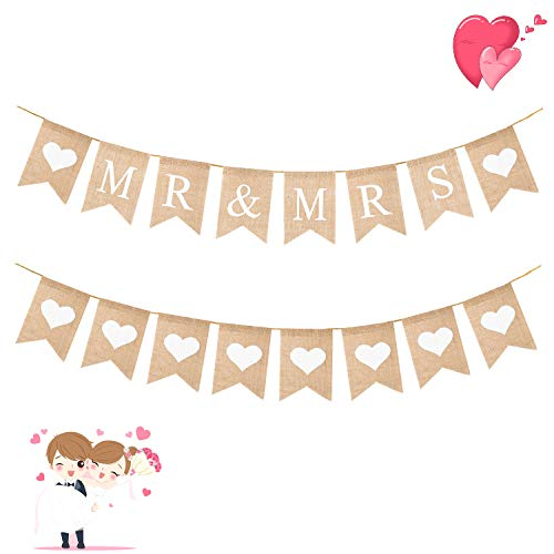 WATINC 2pcs MR & MRS Burlap Banner, White Heart Bunting Garland for Wedding Party Decorations, Bridal Shower Party Favors Supplies, Anniversary Photo Booth Props, Home Decor for Mantle Fireplace