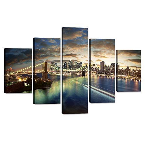 5 Piece Manhattan Modern Wall Painting New York Brooklyn Bridge Wall Art Skyscrapers HD Prints Pictures Giclee Artwork for Living Room Home Decor Wooden Framed Stretched Ready to Hang(60''Wx40''H)