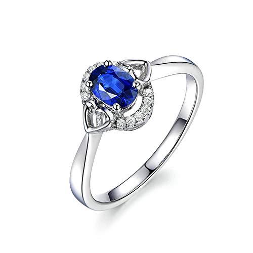 Daesar Anillo Compromiso Mujer Oro Blanco 18K Anillo Oval con Corazón Zafiro Azul 0.65ct y Diamante 0.1ct Anillo Talla 8