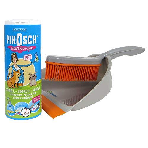 Ecosharkz Kotz Pulver Set – Absorber-Granulat für Haustiere und Spezial-Kehrset zur ekelfreien Beseitigung der von Urin, Erbrochenem usw.