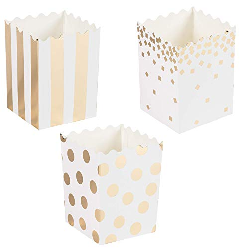 Juvale 60-Pack Mini Popcorn Boxes - 16oz Small Paper Popcorn and Candy Favor Boxes, Gold Foil Polka Dots, Stripes, Confetti Designs, Baby Shower, Wedding, Birthday Party Supplies, 3 x 4 x 2.8 Inches