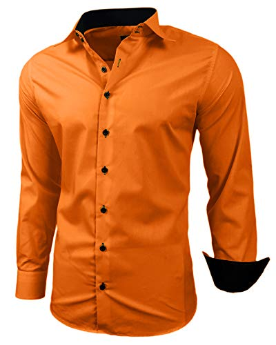 Baxboy Herren-Hemd Slim-Fit Bügelleicht Für Anzug, Business, Hochzeit, Freizeit - Langarm Hemden für Männer Langarmhemd R-44, Farbe:Orange, Größe:XL