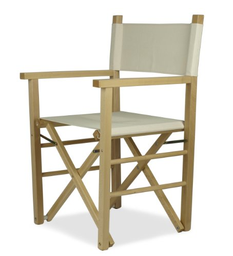 Silla director de cine, estructura en madera teñida natural con respaldo y asiento en algodón beige - Regista P-MC