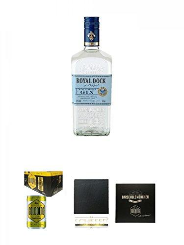 Haymans Royal Dock Gin 0,7 Liter + Goldberg Tonic Water DOSE 8 x 0,15 Liter Karton + Schiefer Glasuntersetzer eckig ca. 9,5 cm Durchmesser + Barschule München Buch