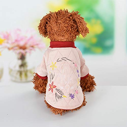 SUNXK Haustierkleidung Herbst neue Mode warme bestickte Pullover Winter Hund Teddy zwei Fuß bequem 2019 neu SUNXK (Color : Pink, Size : S-10 code)