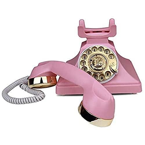 cakunmik Teléfono Antiguo Europeo, teléfono de dial rotatorio Creativo y de Moda, Adecuado para Oficina de hoteles y Uso doméstico.
