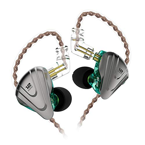 KZ ZSX IEM 5BA 1DD auricolari monitor,KZ Cuffie In Ear 5 Armatura Bilanciata 1 Dynamisch auricolari con staccabili cavo 2pin(Cyan senza mic)