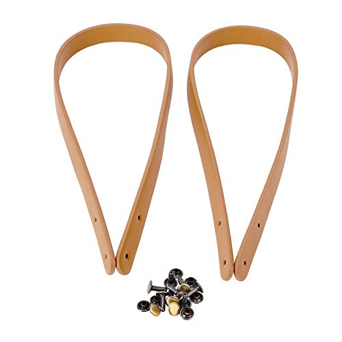 HEEPDD Taschen Riemen, 2Pcs 25,59 Zoll handgemachte Ledertasche Griffe mit Bronze Nieten für Umhängetasche Geldbörse Making Supplies(Beige)