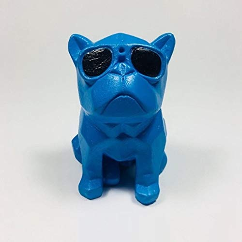 TLLDX Figurine Nordic Style Blue French Bulldog Statues Geometric Glasses Dog Animal Resin Art Craft Animal Figurine for Living Room Home Decorations Gift-DX1710