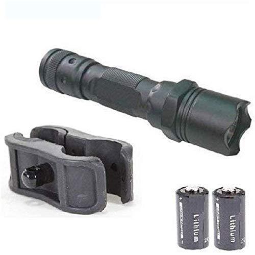 Tactical LED Flashlight & 1 Inch Shotgun Clamp for Flashlight   LED Light Kit with Laser Light Mount Ring (Combo of Two Item -1)