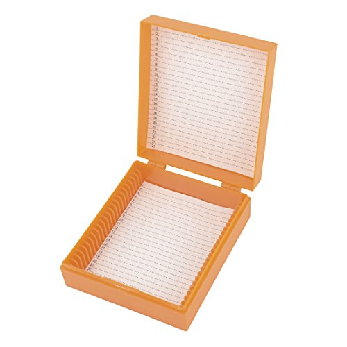 uxcell Orange Plastic Rectangular Microscope Glass Slide Boxes for 25 Slides