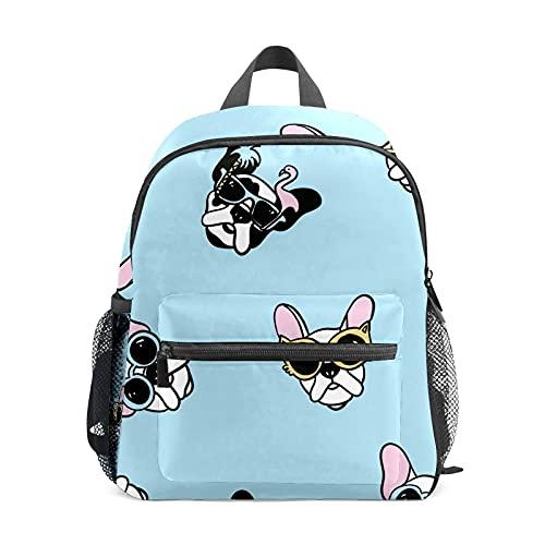 Mochila infantil para niños y niñas, mochila de poliéster con gafas de sol – azul dibujado a mano mascota para niños, correa ajustable, tamaño perfecto para la escuela y mochilas de viaje