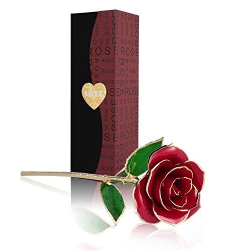 Rosa 24K , Rosa Eterna Flores Chapadas en Oro con Caja de Regalo para