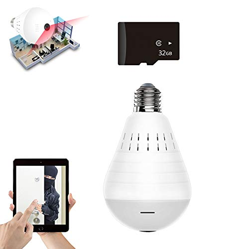 QIHONG WiFi Waterproof IP66 Security Light Bulb Camera,360 Panoramic View, Matte Night Vision and White Light,Support Alexa, Google Assistant,E27,E26 Base