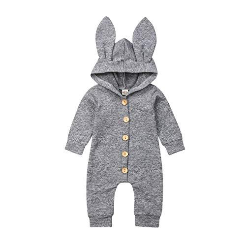 Carolilly - Pelele con capucha para bebé y niña, diseño de conejo y orejas gris 6-12 Meses