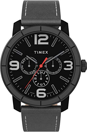 Timex Herren Analog Uhr mit Leder Armband TW2U15200