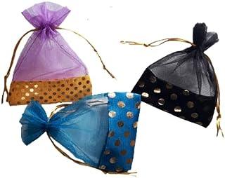 Zicniccom -24 Pcs-Drawstring Transparent Organza Potli bags, Wedding return gifts,Candy bags,birthday Gift Goodies ,Dry fr...