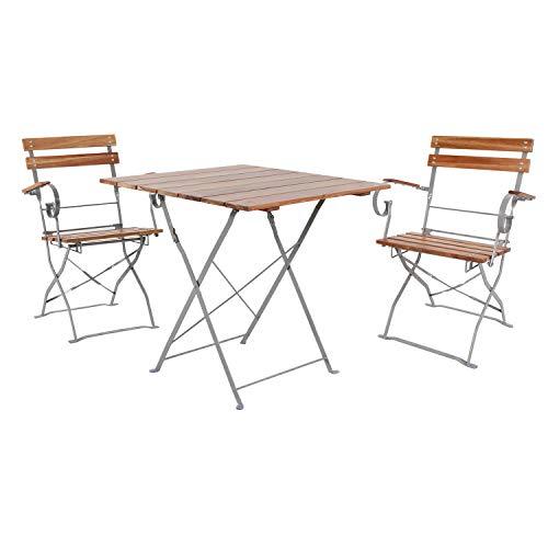 INDA-Exclusiv Top 3er Biergarten Set Bistro - Juego de mesa y 2 sillas plegables con reposabrazos plegables (madera de acacia y acero pulverizado, 70 x 70 cm)