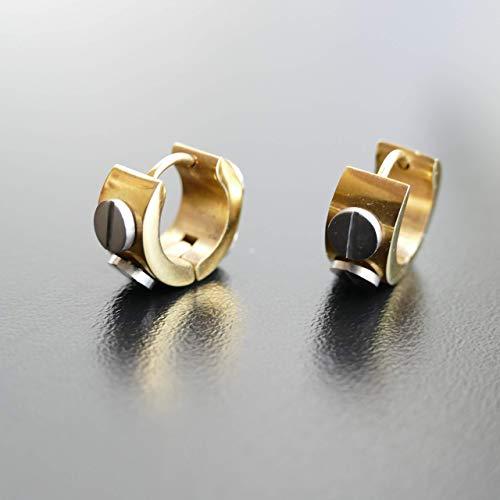 Damen Ohrringe Edestahl Creolen, Unisex Ohrringe Gold & Silber Farbe