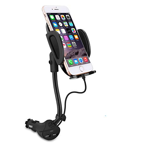 Te-Rich Auto Cell Phone Car Holder Cigarette Lighter Mount Charger [Dual USB Port, 3.1A] w/Built-in Charging Cable Compatiable with iPhones