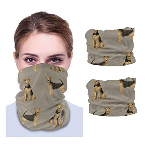 Airedale Terrier Dog Variety face Towel Multifunctional Headband Bandana Sport Snood Elastic Neck Gaiters UV Resistence Balaclava Tube for Running Cycling Outdoors