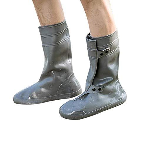 LQPHY Cubrezapatos Impermeable Lavable Cubrezapatos PVC Reutilizable Suela Reforzada Antideslizante Adecuado para días lluviosos, Gris, XXL / 30.5cm