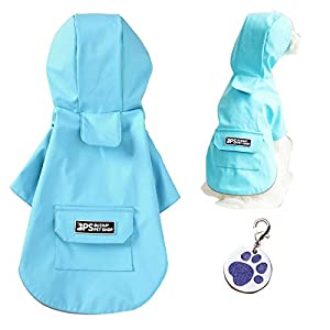 iROLEWIN Dog Raincoat for Small Medium Dogs with Hood – Yellow Dog Rain Jacket Coat Waterproof Lightweight with Pet Tag