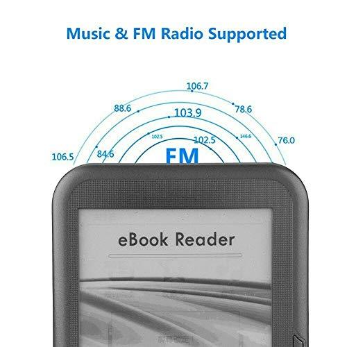 Camisin Lector de libros electrónicos de 6 pulgadas, 4 GB, E-Ink capacitivo, libro electrónico, lector electrónico de MP3 con funda, WMA PDF HTML miniatura