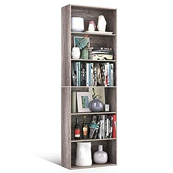 Homfa Bookshelf 70 in Height Bookcase 6 Shelf Free Standing Display Storage Shelves Standard Organization Collection Decor Furniture for Living Room Home Office Dark Oak