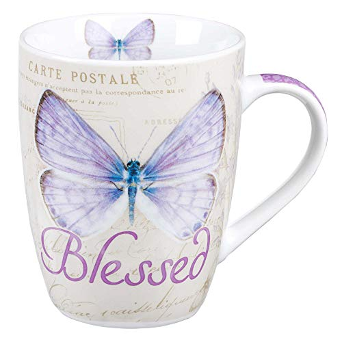 Mug Butterfly Purple Blessed Jeremiah 17: 7