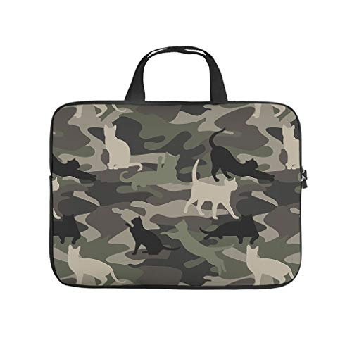 Laptop Camouflage Cat Green Durable Laptop Shoulder Bag for Casual white 13 zoll