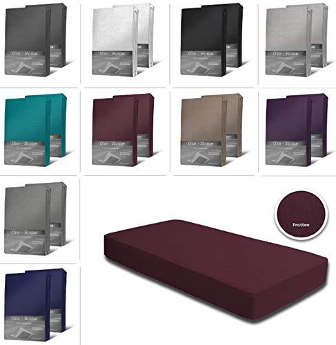 one-home 2er Pack Frottee Spannbettlaken Spannbetttuch 90x200 140x200 180x200 Baumwolle, Farbe:Bordeaux, Maße:140x200 cm - 160x200 cm