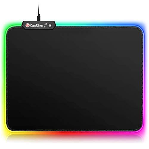 RuoCherg Alfombrillas de Ratón RGB, Grande LED Gaming Mouse Pad, 10 Modos de Iluminación, Superficie Impermeable Base de Goma Antideslizante para Jugadores, PC y Portátiles