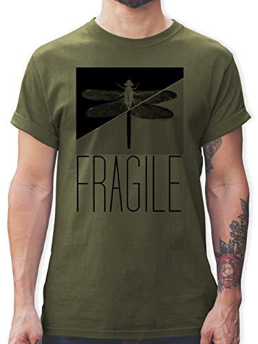 Statement - Fragile - Libelle - XXL - Army Grün - T-Shirt - L190 - Tshirt Herren und Männer T-Shirts