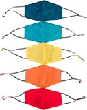 Kids Face Mask Reusable - 5 Pack Childrens Mask, Dual Layer Cotton Fabric with Wire Nose Bridge for a Sealed Fit, Washable and Reusable, Adjustable Ear Loops, Contoured Design (Multicolor)