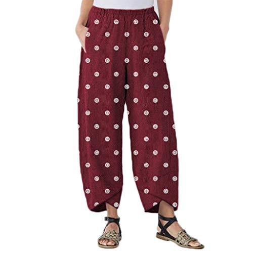 WOZOW Harem Pants Damen Polka Dots Print Bedrucktes Druck Bloomers Zweifarbig Loose Long Slit Cuff Casual High Waist Mode Saggy Trousers (4XL,Rot)