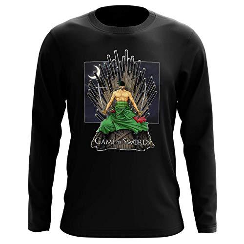 T-Shirt Manches Longues Noir Parodie One Piece - Game of Thrones - Roronoa Zoro X Eddard Stark - Game of Swords (T-Shirt de qualité Premium de Taille L - imprimé en France)